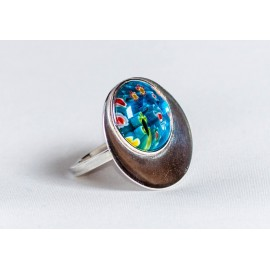 Large sterling silver ring with millefiore, handmade & handcrafted, design by Ibralhoff
