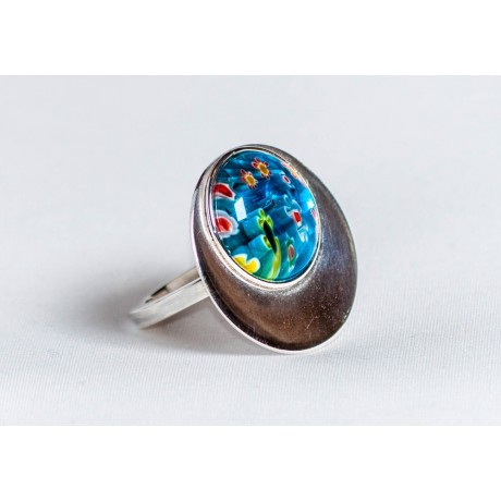 Large sterling silver ring with millefiore, handmade & handcrafted, design by Ibralhoff, Bijuterii de argint lucrate manual, handmade