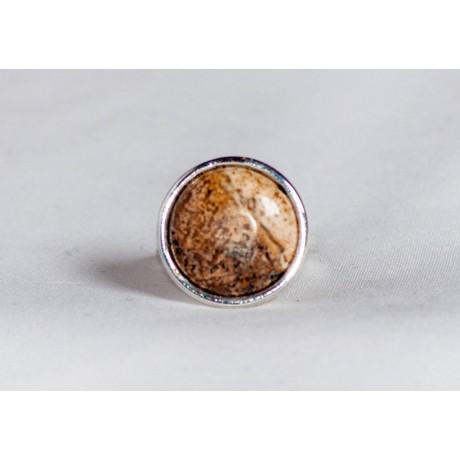 Inel argint 925 cu  picture jasp, handmade & handcrafted, design by Ibralhoff, Bijuterii de argint lucrate manual, handmade