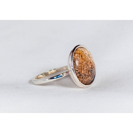 Sterling silver ring with picture jasper, handmade & handcrafted, design by Ibralhoff, Bijuterii de argint lucrate manual, handmade