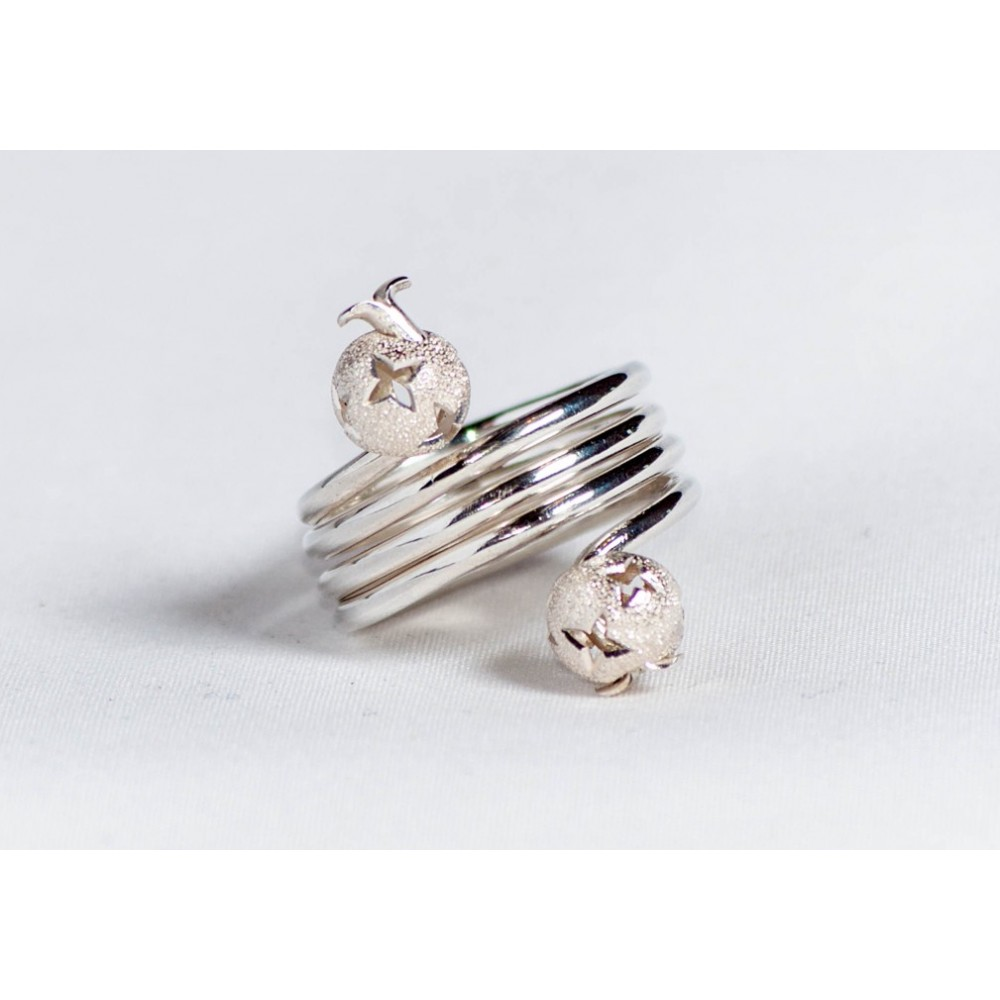 Sterling silver ring with silver heads, handmade & handcrafted, design by Ibralhoff