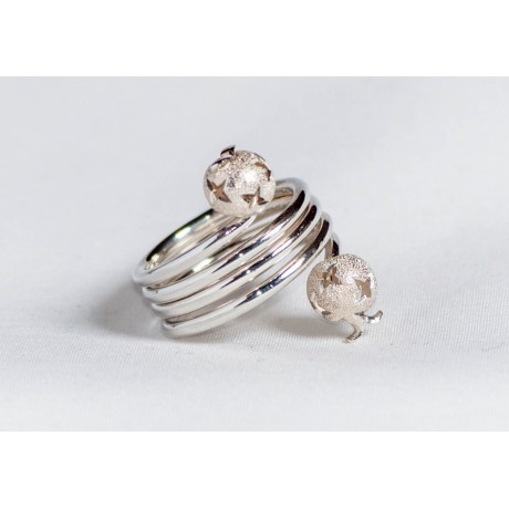 Sterling silver ring with silver heads, handmade & handcrafted, design by Ibralhoff, Bijuterii de argint lucrate manual, handmade