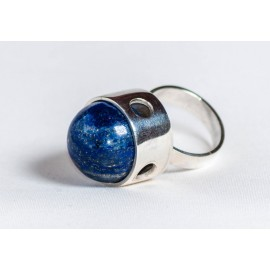 Large sterling silver ring with lapis lazuli, handmade & handcrafted, design by Ibralhoff