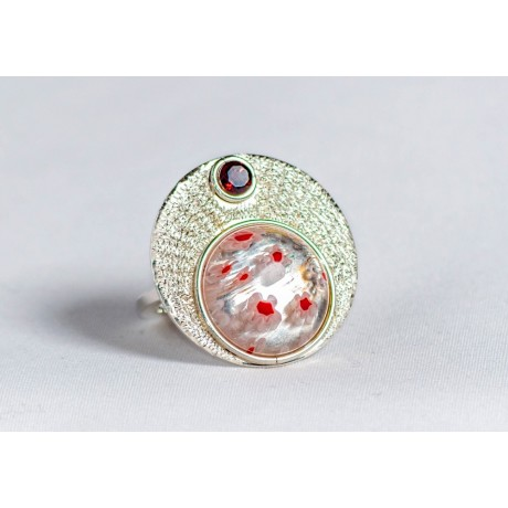 Sterling silver ring with millefiore and granate, handmade & handcrafted, design by Ibralhoff, Bijuterii de argint lucrate manual, handmade