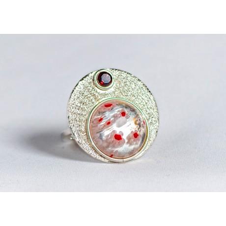 Inel argint 925 cu millefiore si granat, handmade & handcrafted, design by Ibralhoff, Bijuterii de argint lucrate manual, handmade
