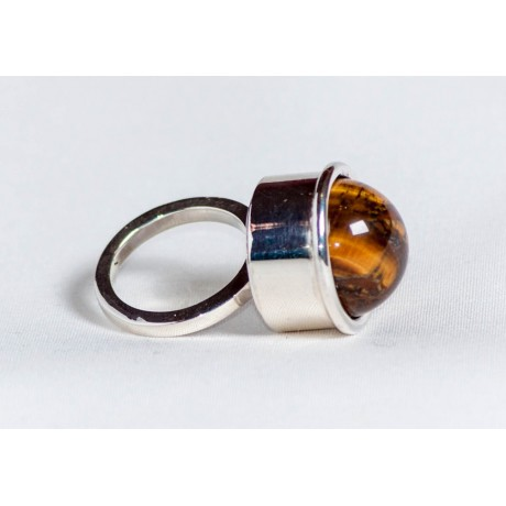 Large sterling silver ring with tiger's eye, handmade & handcrafted, design by Ibralhoff, Bijuterii de argint lucrate manual, handmade