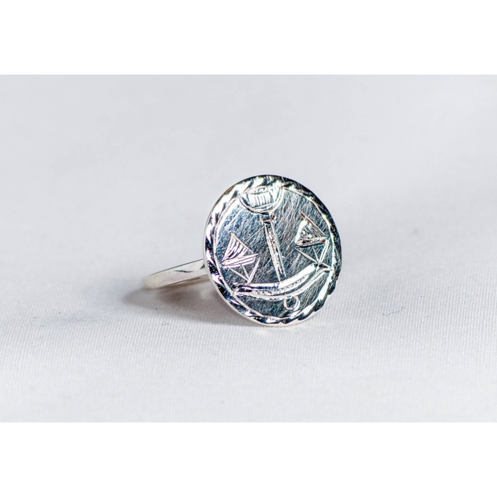 Sterling silver ring with scales, engraved, circular, handmade & handcrafted, design by Ibralhoff