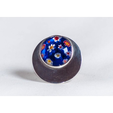 Large sterling silver ring with dark blue millefiore, handmade & handcrafted, design by Ibralhoff, Bijuterii de argint lucrate manual, handmade