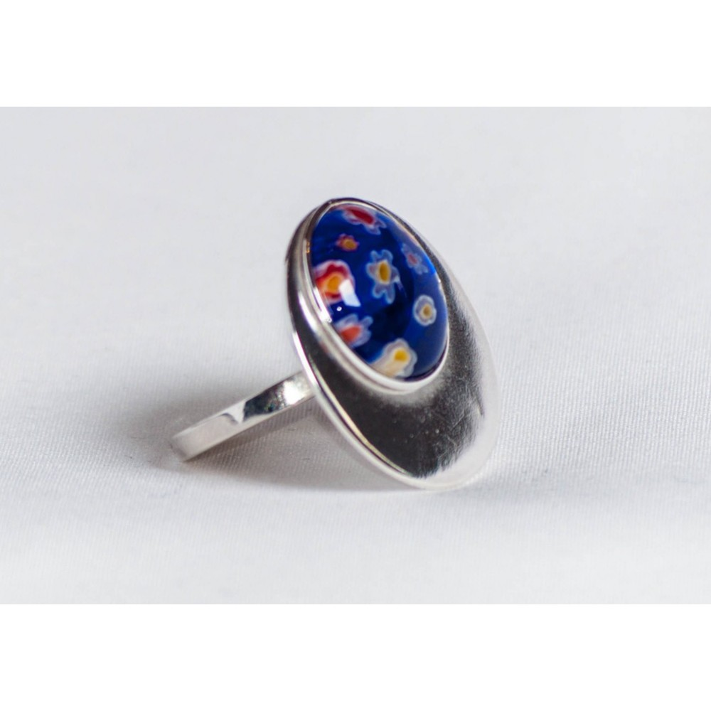 Large sterling silver ring with dark blue millefiore, handmade & handcrafted, design by Ibralhoff