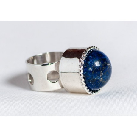 Large sterling silver ring with lapis lazuli, handmade & handcrafted, design by Ibralhoff, Bijuterii de argint lucrate manual, handmade
