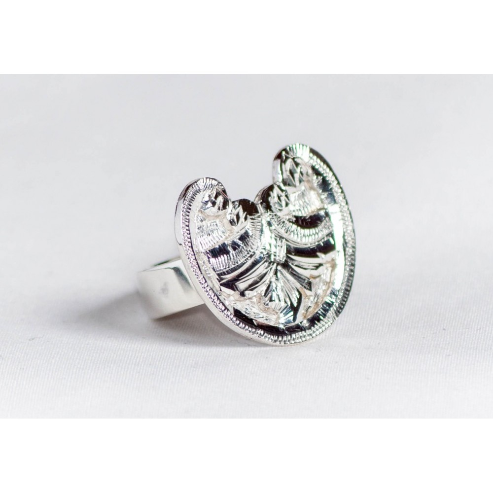 Sterling silver ring with floral motif, engraved, handmade & handcrafted, design by Ibralhoff