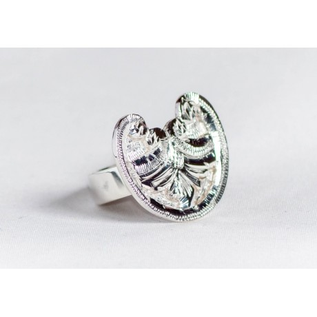 Sterling silver ring with floral motif, engraved, handmade & handcrafted, design by Ibralhoff , Bijuterii de argint lucrate manual, handmade