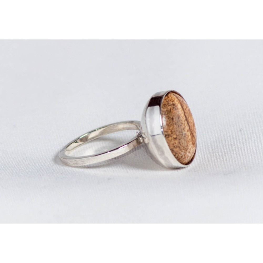 Sterling silver ring with picture jasper, handmade & handcrafted, design by Ibralhoff