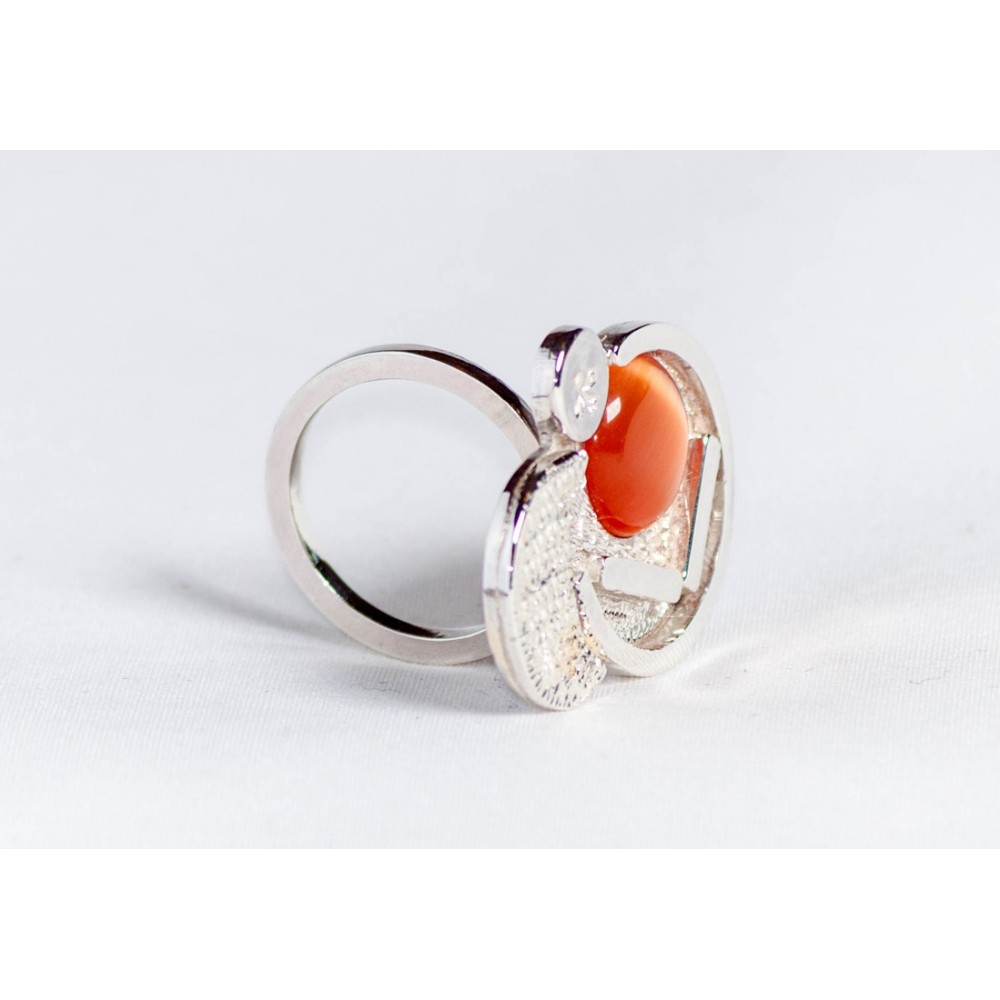 Large sterling silver ring with crescent and orage cat's eye, handmade & handcrafted, design by Ibralhoff