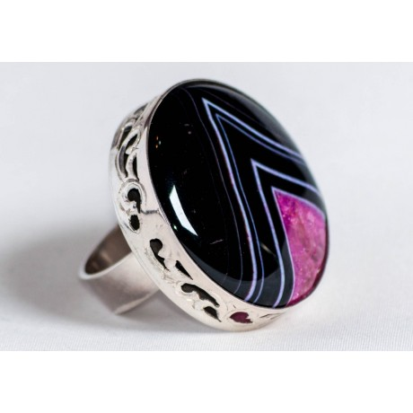 Large sterling silver ring with crystal agate, handmade & handcrafted, design by Ibralhoff, Bijuterii de argint lucrate manual, handmade