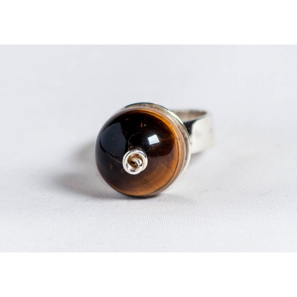 Large sterling silver ring with tiger's eye ball, handmade & handcrafted, design by Ibralhoff