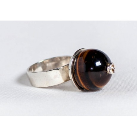 Large sterling silver ring with tiger's eye ball, handmade & handcrafted, design by Ibralhoff, Bijuterii de argint lucrate manual, handmade