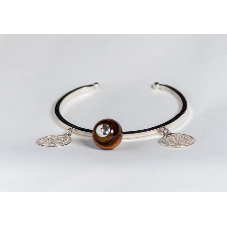 Sterling silver bracelet with bangles and sun's stone, handmade & handcrafted, design by Ibralhoff, Bijuterii de argint lucrate manual, handmade