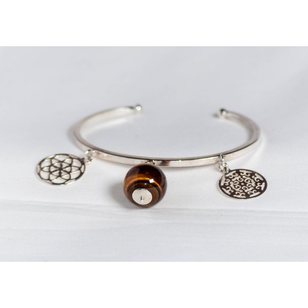 Sterling silver bracelet with bangles and sun's stone, handmade & handcrafted, design by Ibralhoff
