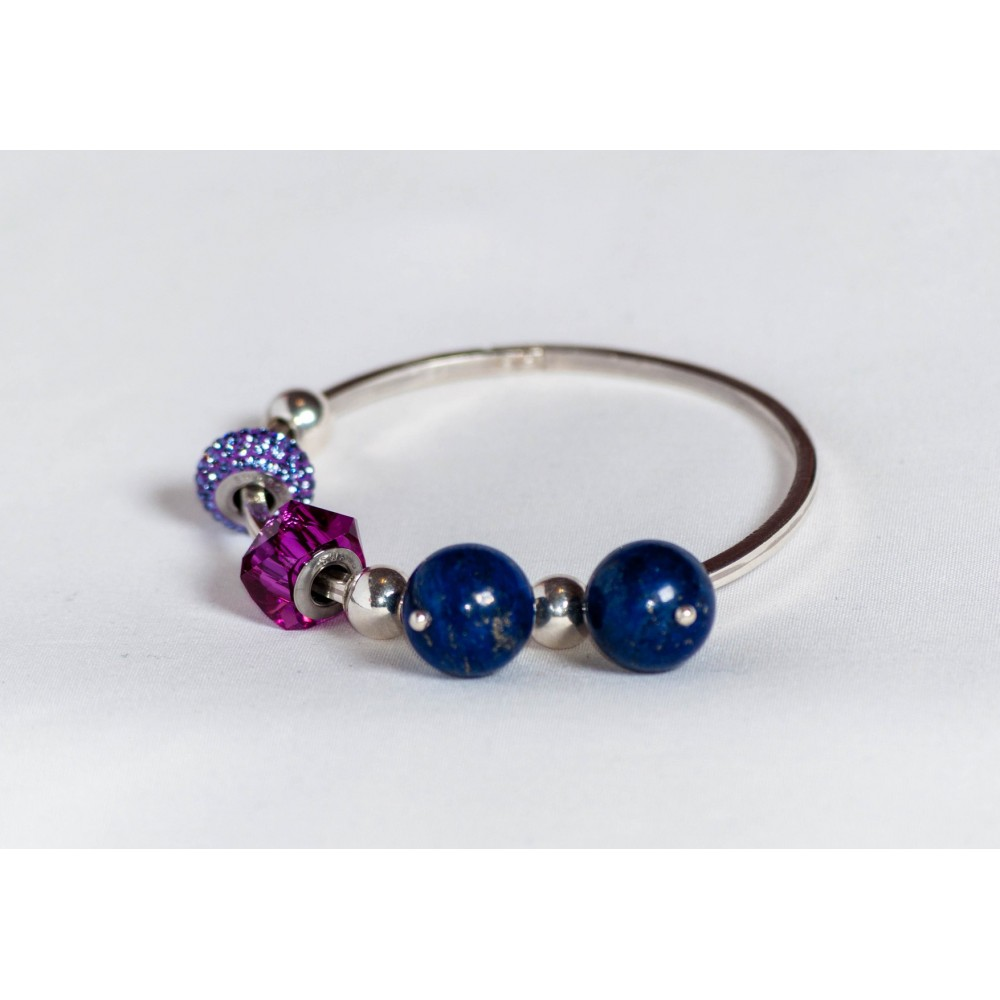 Sterling silver bracelet with lapis lazuli, silver balls and Swarowski elements, handmade & handcrafted, design by Ibralhoff