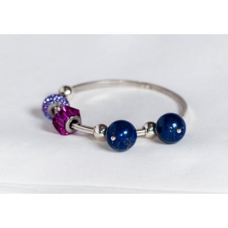 Sterling silver bracelet with lapis lazuli, silver balls and Swarowski elements, handmade & handcrafted, design by Ibralhoff, Bijuterii de argint lucrate manual, handmade