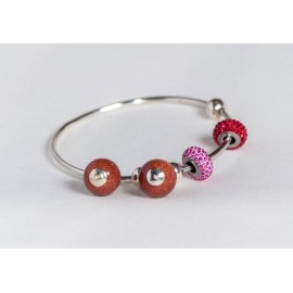 Sterling silver bracelet with Swarowski elements, silver balls and sun's stones, handmade & handcrafted, design by Ibralhoff