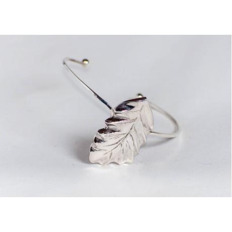 Sterling silver bracelet with vegetal symbol—leaf, design by Ibralhoff, Bijuterii de argint lucrate manual, handmade
