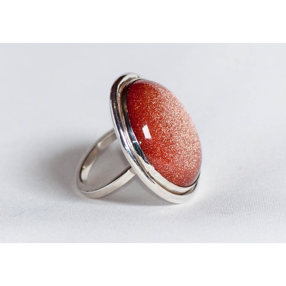 Large Sterling silver ring with sun's stone, handmade & handcrafted, design by Ibralhoff