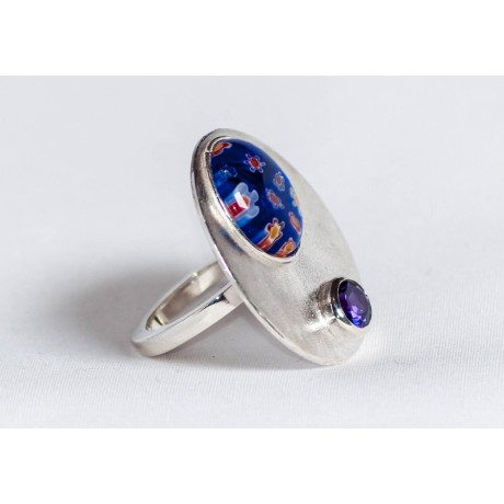 Large sterling silver ring with millefiore and amethyst, handmade & handcrafted, design by Ibralhoff, Bijuterii de argint lucrate manual, handmade