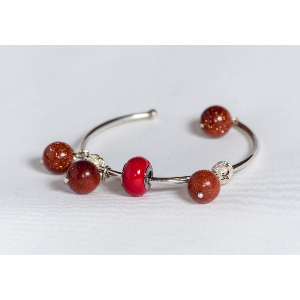 Sterling silver bracelet with 4 sun's stones, coral Swarowski element and starry silver balls, handmade & handcrafted