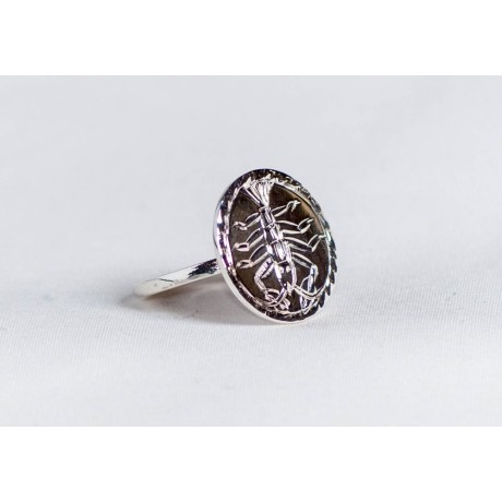 Sterling silver ring with engraved crab symbol, handmade & handcrafted, design by Ibralhoff, Bijuterii de argint lucrate manual, handmade