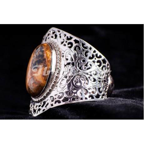 Silver bracelet with natural agath stone, Bijuterii de argint lucrate manual, handmade