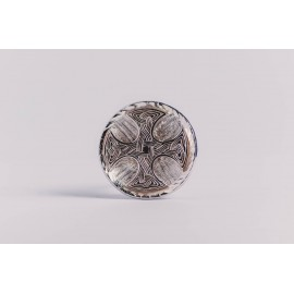 Large sterling silver ring with Celtic cross, engraved, handmade & handcrafted, design by Ibralhoff
