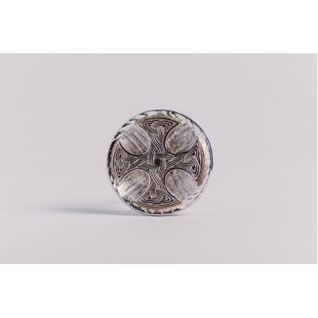 Large sterling silver ring with Celtic cross, engraved, handmade & handcrafted, design by Ibralhoff, Bijuterii de argint lucrate manual, handmade