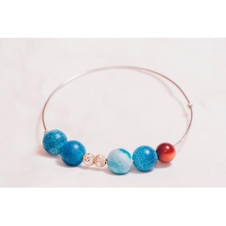 Bratara Drops of Blue, Bijuterii de argint lucrate manual, handmade