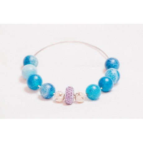 Bratara Love Token in Blue, Bijuterii de argint lucrate manual, handmade