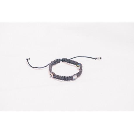 Bratara fir textil cu cristale si bile argint, Bijuterii de argint lucrate manual, handmade